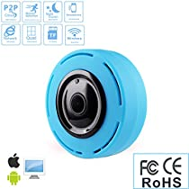 360 ° Panoramic IP Fisheye Camera, WIFI 2.4G 960P Bi-directional Voice Intercom Security Camera, Outdoor Ultra Wide Angle, Support Infrared Night Vision Motion Detection (Blue)