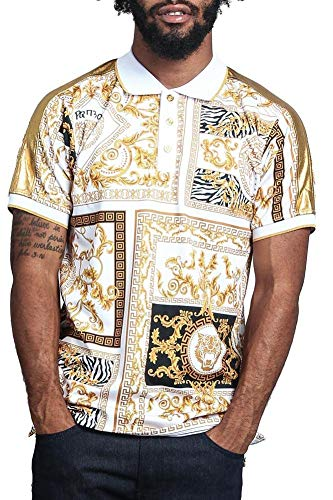 G Style USA V Lux Lion Polo PQ7301 - White/Gold - 2X-Large - G12D