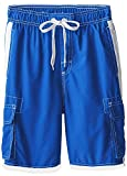 INGEAR Boys Quick Dry Swim Trunks Cargo Water Shorts With Mesh Lining (Blue, 12/14)