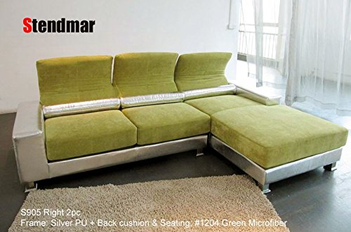 2pc Modern Green Silver Sectional Sofa S905z