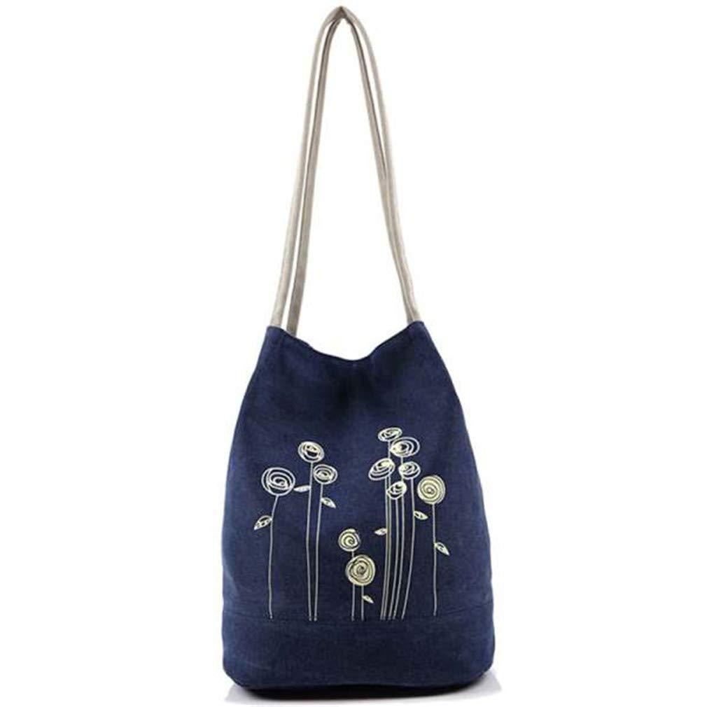 Flowers Hasp Canvas Bag Tote Women Handbags Canvas Shoulder Bags Blue
