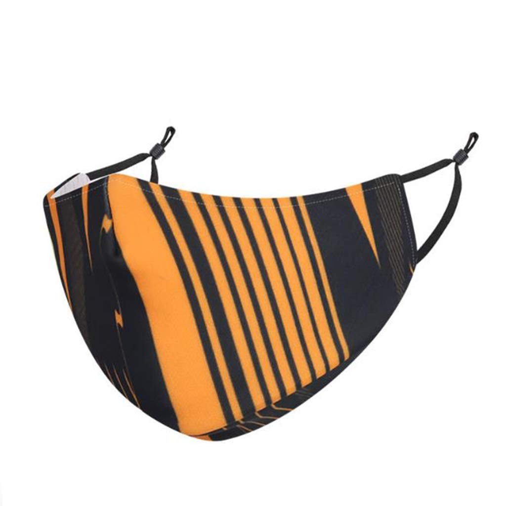 Lijiaqi Half Mask, Spring and Summer Silk Sunscreen Half Mask, Dustproof Thin Section Breathable Printed Half Mask (Men and Women) (Color : Orange)