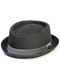 Unisex Pork Pie Hat Plain Woven With Grey Band - Charcoal Black (58/L)