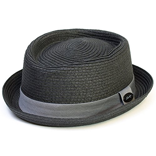 d2d Unisex Pork Pie Hat Plain Woven With Gray Band - Charcoal Black (58/L) - Boonie Hat Woven Hat