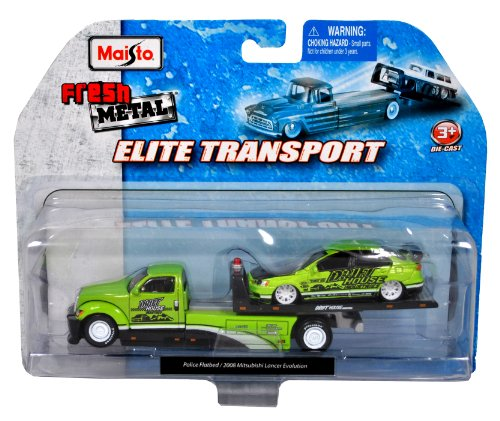 Maisto Fresh Metal Elite Transport Series 1:64 Scale Die Cast 2 Pack Car Set - Green Police Flatbed Towtruck and Green High Performance Sedan 2008 Mitsubishi Lancer Evolution (Flatbed Tow Truck)