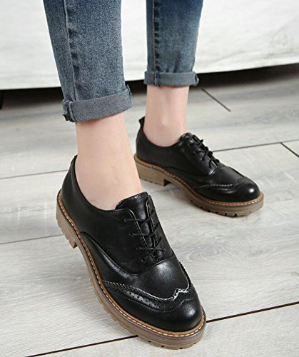 Up Women's Heels Shoes Retro Lace Black Oxfords Mid Chunky Brogues IDIFU O1awf