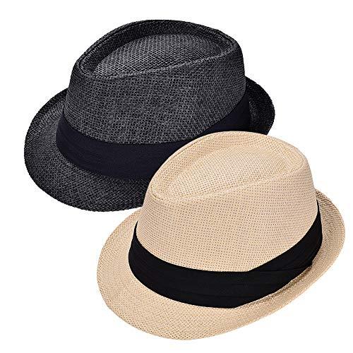 (Rosoz Packable Straw Fedora Panama Sun Summer Beach Hat Cuban Trilby Men)