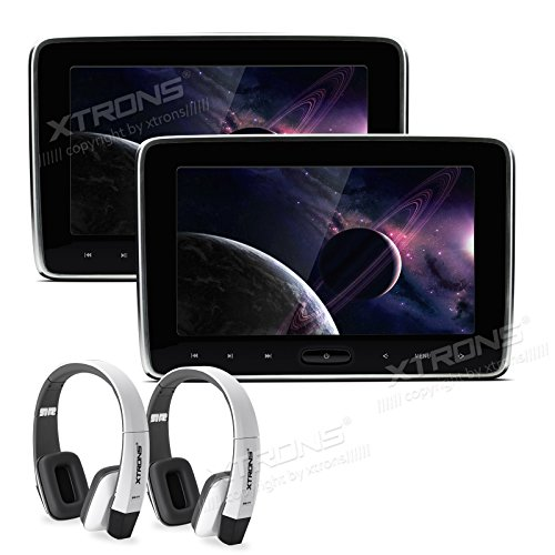 XTRONS 2x 10.1 Inch Twins HD Digital Screen Car Auto Headrest Stereo DVD Player White New Version Headphones Included