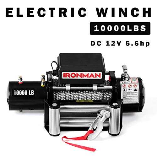 Goplus 10000 lbs 12V Electric Winch, ATV/UTV Wireless Winch Kit, IP67 Waterproof Recovery Winch Utility Winch with Steel Wire Rope, Pure Copper Motor, Wireless Remote Control