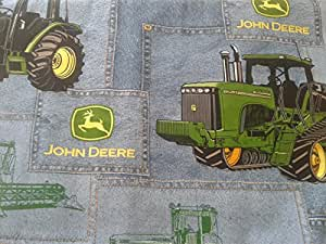 """John Deere denim "" Lined Placemat, Bowl Mitt, Hot Pad, Lined Table Runner (Hot Pad 10""x10"")"