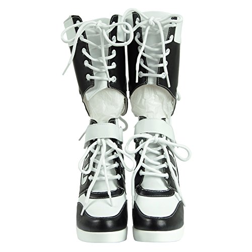 Custom Work Leather Costumes (Cosdaddy 2017 Comic Villain Boots Shoes White PU Pleather Costume (Female US 10.5,)