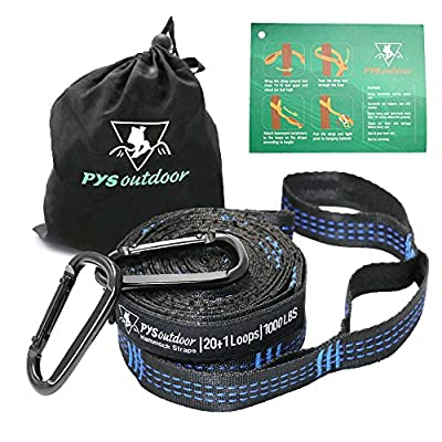 pys XL Hammock Straps, Hammock Tree Straps with 2 Premium Carabiners, 40 Loops Combined 20 ft or 24ft Long, 2000 LBS Heavy Duty, Lightweight, Easy Setup, Fits All Hammocks
