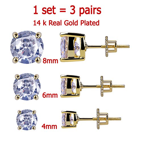 3 Pairs Set 4-8 mm 14K Gold Plated HIP HOP Jewelry Iced Out Round Stud Earrings With Screw Back Paved With Fake (18k Yellow Gold Heart Earrings)
