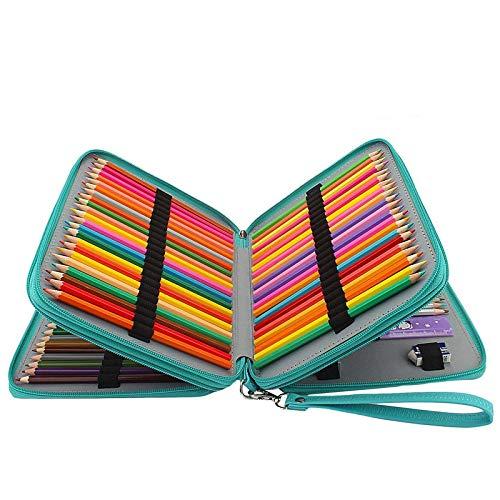 GXL PU Pencil case- 120super grande capacità impermeabile sacchetto della matita, in pelle PU comoda borsa grande multistrato cerniera penna con maniglia da polso schizzo a matita, penna acquerello, color Pencil bag- (matite non inclusa) turchese