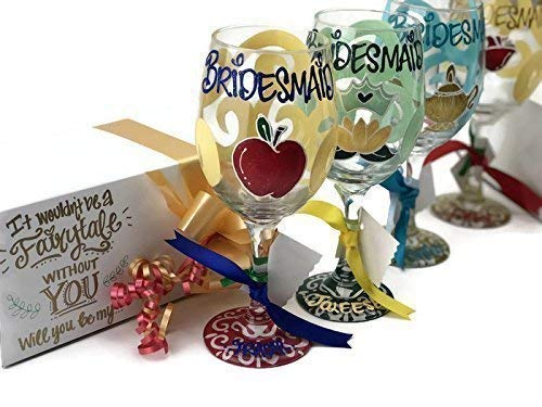you be my Bridesmaid Princess Wine Glass with Gift Box - - Your choice of princess Bridal party glass. Listing for 1 glass. ()