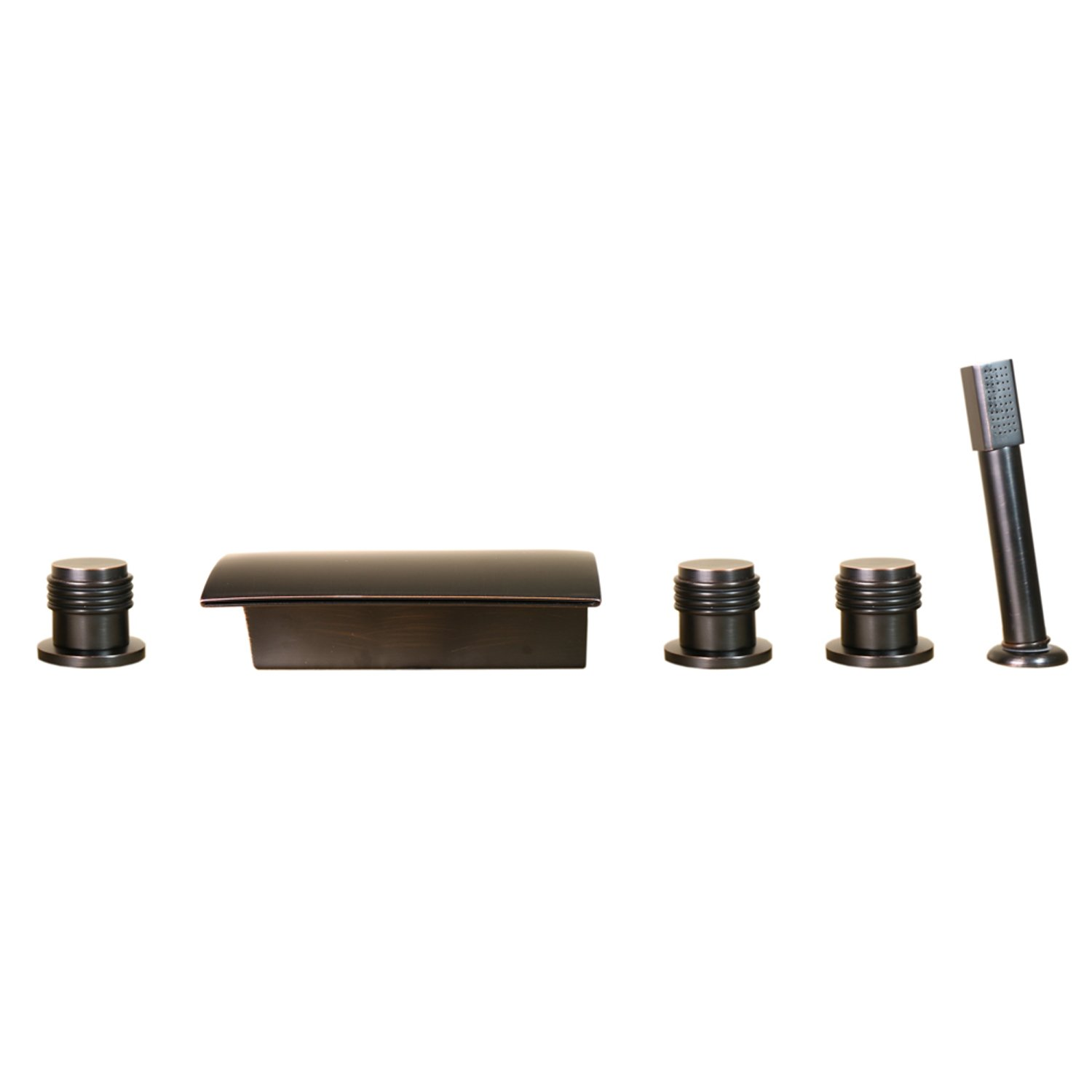 Deck Mount Bathroom sink / tub Faucet with Hand Shower in oil rubbed bronze by HTU