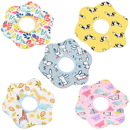 Baby Bandana Dribble Bibs,5 Pack Latest 360° Rotate Design Drool Bibs for 0-3 Year Baby Infant Toddler, Cotton Material with TPU Waterproof Layer, Nice Soft and Water-resistant, Best Baby Shower Gift