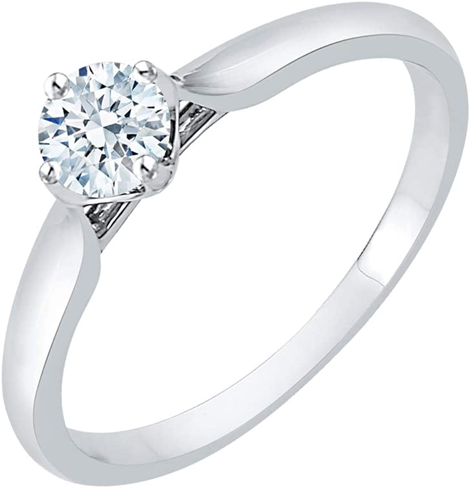 Size-6.75 G-H,I2-I3 Diamond Wedding Band in Sterling Silver 1//4 cttw,