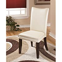 High Quality Signature Design by Ashley Charrell Ivory Faux Leather Dining Chair (Set of 2) in Off-White
