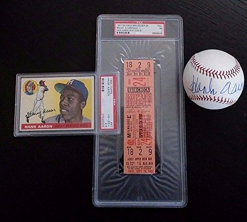 Hank Aaron Lot - Auto Ball 1955 Topps PSA/DNA 45 1957 Braves Full Ticket PSA/DNA 7 - Authentic MLB Autograph