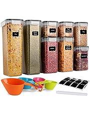 GoMaihe Behållare för flingor, uppsättning av 8, lufttäta matförvaringsbehållare med lock, förvaringsburkar för förvaring av pasta, ris, rour, hund, katt, husdjursmat, flingdispenser köksarrangör