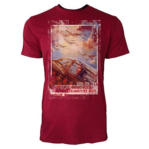 SINUS ART® Up in the Air Herren T-Shirts stilvolles dunkelrotes Cooles Fun Shirt mit tollen Aufdruck
