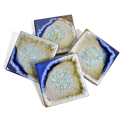 Dock 6 Pottery Coasters with Fused Glass, Blue and Copper, Set of 4 from Dock 6 Pottery