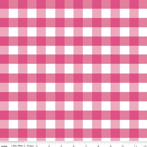 Quilting Fabric - Large Gingham Hot Pink - Riley Blake - Per Yard ()