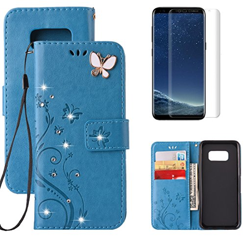 For Samsung Galaxy S8 Plus Wallet Case with Screen Protec...