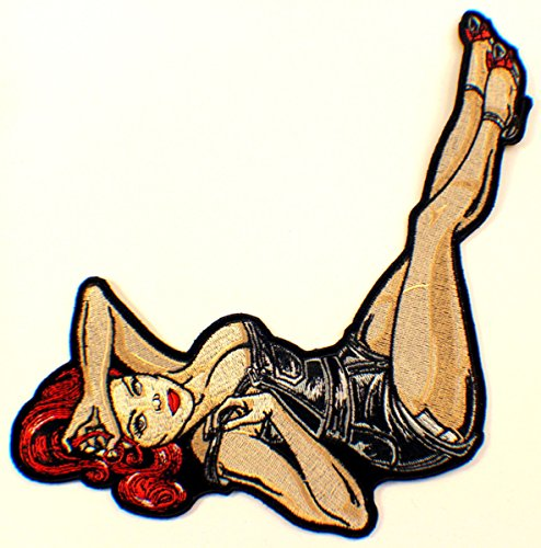 sexy-pin-up-girl-hot-red-head-chopper-bike-motorcycle-uniform-patch-biker-xl