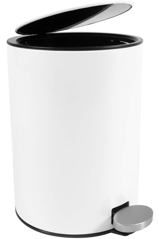 Bamodi Cestino Bagno Pattumiera - Cestino Spazzatura – Secchio Spazzatura - Pattumiera Cucina - Pattumiera Bagno 3L - Bidoncino Removibile - Cestino in Metallo con Sistema Magic Silent (Bianco)