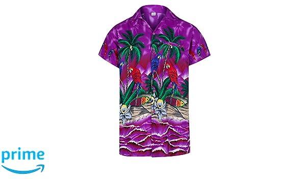 Playa y Loros Camisa Hawaiana de Manga Corta Todas Las Tallas Redstar Fancy Dress para Hombre