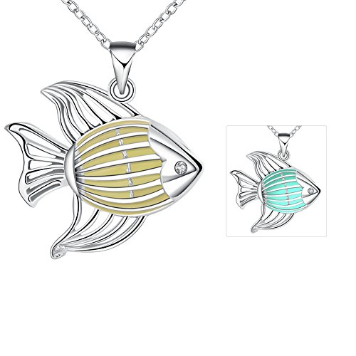 The November Nocturne Luminous Cyan Creative Western Style Hollow Striped Fish Pendant Silver Necklace
