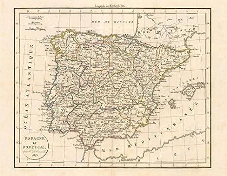 Antiqua Print Gallery Espagne Et Portugal por Felix Delamarche. Iberia España Portugal – 1823 – Mapa Antiguo – diseño de Mapa Antiguo Mapa – diseño – Vintage Mapas de Iberia: Amazon.es: Hogar