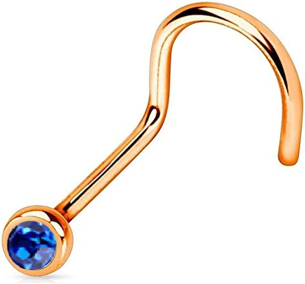 BodyJewelryOnline Nose Screw Ring Rose Gold IP Over Surgical Steel 18G//20G with Press Fit Gem