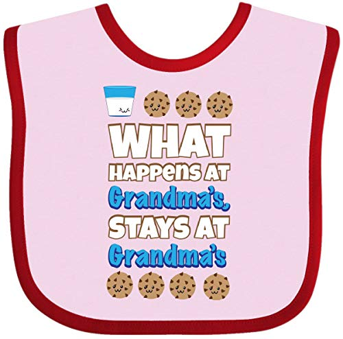 Inktastic - What Happens at Grandma's Baby Bib Pink and Red 1f870