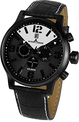Jacques Lemans Porto 1-1792C 49mm Ion Plated Stainless Steel Case Calfskin Mineral Men's Watch