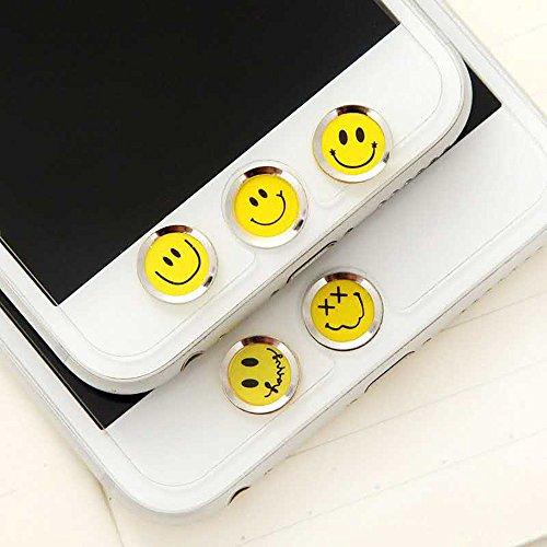 Cheap Replacement Parts 5 PCS Metal Home Button Stickers Emoticon Happy Smile Face Support Fingerprint..