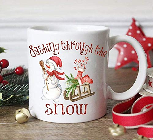 - Dashing through the snow,christmas mug,vintage christmas,snowman,christmas gift,snowman gift,snowman mug,sleigh,christmas sleigh,christmas
