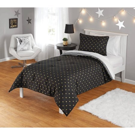 Cute, Soft and Unique Your Zone Gold Hearts Reversible Comforter Set, Black With Gold Metallic Hearts Reverses to White and Black Stripes, Twin/Twin XL ()
