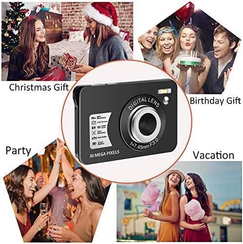 30 Mega Pixels Digital Camera 2.7 Inch HD Camera Rechargeable Mini Camera Students Camera Pocket Digital Camera with 8X Zoom Compact Camera Student Camera for Photography(32GB SD Card Included)