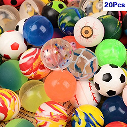 20 Pcs Bouncing Bouncy Balls Bulk Set, Assorted Colorful Neon Mixed Pattern Designs for Kids Playtime, Party Favors, Prizes, Birthdays & More, 1.25 Inches