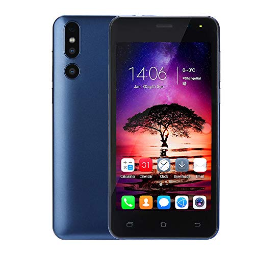 Dual HD 5.0 inch Camera Smartphone 512M +4G ROM Extended Memory 32G Android 6.0 WiFi GPS 3G Dual SIM Call Mobile Phone (Blue)