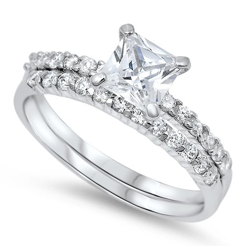 Princess Cut Solitaire Cz Wedding Set .925 Sterling Silver Ring Sizes 3-12 (12)