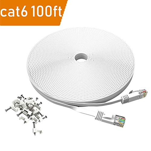 100 ft Cat 6 Ethernet Cable White - Flat Wire LAN Rj45 High Speed Internet Network Cable Slim with Clips - Faster Than Cat5e Cat5 with Snagless Connectors- (30 Meters) (100FT-White)