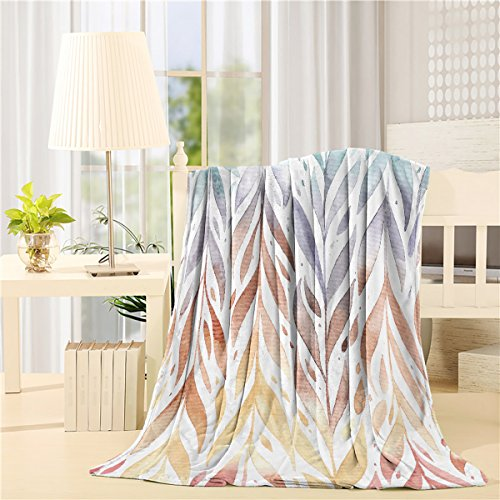 """Bed Blanket Super Soft Warm Fuzzy Velvet Plush Throw Lightweight Cozy Couch Blankets 60"""" x 80"""" - Colorful Tree Branches"""