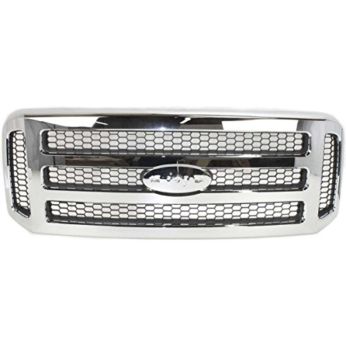 Make Auto Parts Manufacturing Front Chromed Frame Grille With Gray Insert For XLT-Lariat or Amarillo Models Ford F-Series Super Duty 2005-2007 - FO1200456