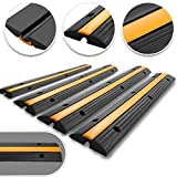 Happybuy 4 Pack of 1-Channel Rubber Cable Protector Ramps Heavy Duty 18000Lbs Load Capacity Cable Wire Cord Cover Ramp Speed Bump Driveway Hose Cable Ramp Protective Cover (1-Channel, 4Pack/18000Lbs)
