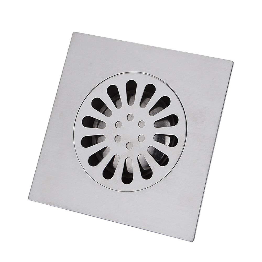 plateado Desag/üe de suelo con funda extra/íble escurridor de ducha cuadrado de acero inoxidable con protectores de drenaje 100 x 100 mm