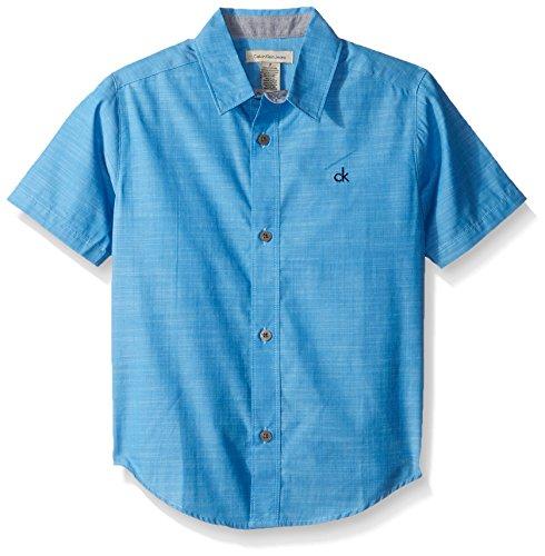 Calvin Klein Big Boys' Slub Chambray Short Sleeve Shirt, Medium Blue, Medium (10/12)